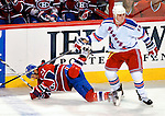 23 January 2010: Montreal Canadiens' right wing forward Brian Gionta is upended by New York Rangers center Brandon Dubinsky in the first period at the Bell Centre in Montreal, Quebec, Canada. The Canadiens shut out the Rangers 6-0. Mandatory Credit: Ed Wolfstein Photo