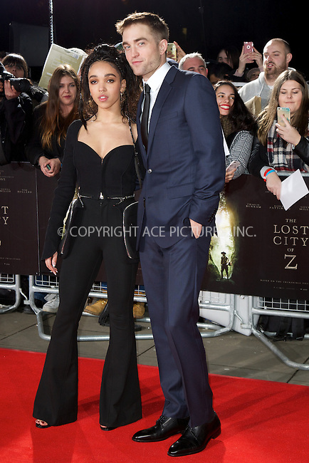 www.acepixs.com<br /> <br /> February 16 2017, London<br /> <br /> FKA Twigs (L) and Robert Pattinson arriving at the UK premiere of 'The Lost City of Z' at The British Museum on February 16, 2017 in London<br /> <br /> By Line: Famous/ACE Pictures<br /> <br /> <br /> ACE Pictures Inc<br /> Tel: 6467670430<br /> Email: info@acepixs.com<br /> www.acepixs.com