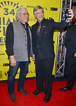 MIAMI BEACH, FL - MARCH 09: Actor/Producer/Director Edward James Olmos and Dr. Lawrence S. Feldman attend the Miami Dade College's: Miami Film Festival for 'Monday Nights At Seven' at O Cinema Miami Beach on March 9, 2017 in Miami, Florida.  ( Photo by Johnny Louis / jlnphotography.com )