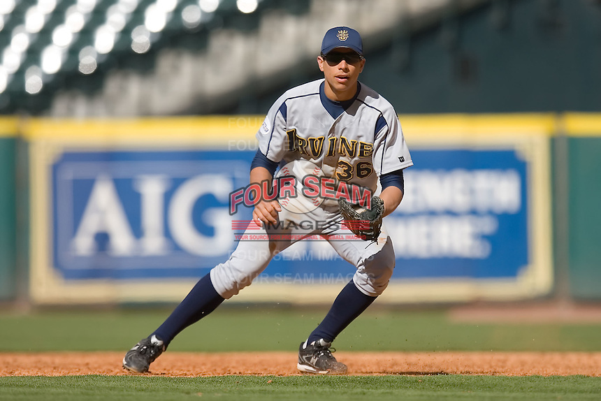 First baseman Ryan Fisher #36 of the UC-Irvine Anteaters on defense versus the Houston Cougars in the 2009 Houston College Classic at Minute Maid Park February 28, 2009 in Houston, TX.  The Anteaters defeated the Cougars 13-7. (Photo by Brian Westerholt / Four Seam Images)