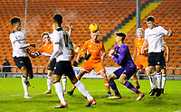 Blackpool's Will Avon can't quite reach a cross<br /> <br /> Photographer Alex Dodd/CameraSport<br /> <br /> The FA Youth Cup Third Round - Blackpool U18 v Derby County U18 - Tuesday 4th December 2018 - Bloomfield Road - Blackpool<br />  <br /> World Copyright © 2018 CameraSport. All rights reserved. 43 Linden Ave. Countesthorpe. Leicester. England. LE8 5PG - Tel: +44 (0) 116 277 4147 - admin@camerasport.com - www.camerasport.com