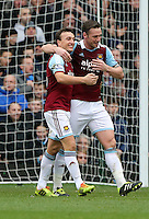 Pictured: Kevin Nolan of West Ham (R) celebrating his second goal. 01 February 2014<br />