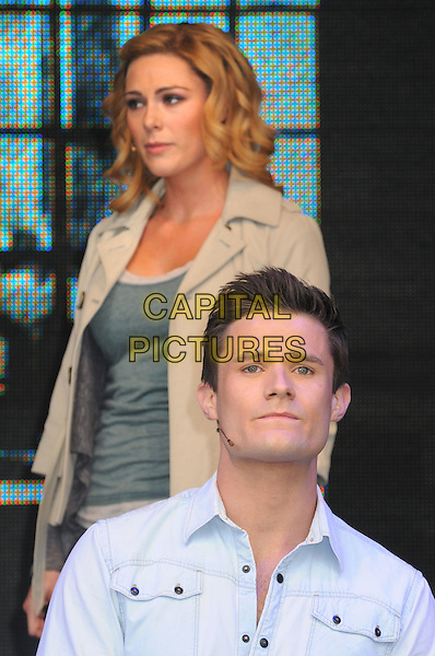Ghost the Musical - Siobhan Dillon & Mark Evans .West End Live at Trafalgar Square, London, England..June 24th 2012.on stage performance performing music half length blue shirt grey gray beige green.CAP/PP/BK.©Bob Kent/PP/Capital Pictures.