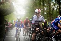 Michał Kwiatkowski (POL/SKY) up the last (categorised) climb of the day; the Côte de la Roche-aux-Faucons<br /> <br /> 105th Liège-Bastogne-Liège 2019 (1.UWT)<br /> One day race from Liège to Liège (256km)<br /> <br /> ©kramon