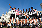 Tom Dumoulin (NED) wins the 2017 Giro d'Italia pictured on the podium with his Team Sunweb team mates at the end of Stage 21, the final stage of the 100th edition of the Giro d'Italia 2017, an individual time trial running 29.3km from Monza Autodrome to Milan Duomo, Italy. 28th May 2017.<br /> Picture: LaPresse/Fabio Ferrari | Cyclefile<br /> <br /> <br /> All photos usage must carry mandatory copyright credit (&copy; Cyclefile | LaPresse/Fabio Ferrari)