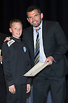 St Johnstone FC Youth Academy Presentation Night at Perth Concert Hall..21.04.14<br /> Callum Davidson presents to Fraser Corbett<br /> Picture by Graeme Hart.<br /> Copyright Perthshire Picture Agency<br /> Tel: 01738 623350  Mobile: 07990 594431