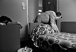Sullom Voe construction workers housing blocks, local woman getting accommodation ready. 1979.