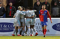 Michael Woods of Hartlepool United is congratulated after scoring the opening Pools goal during Dagenham & Redbridge vs Hartlepool United, Vanarama National League Football at the Chigwell Construction Stadium on 6th January 2018
