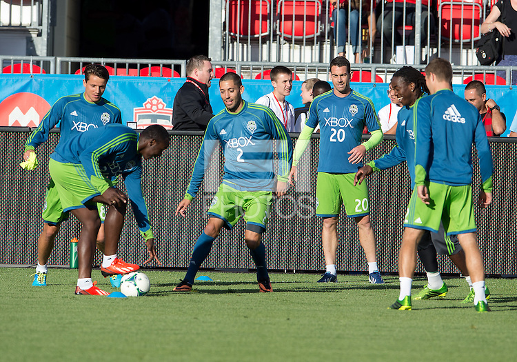August 10, 2013: Seattle Sounders FC forward Clint Dempsey #2 and his teammates  during the warm up in an MLS regular season game between the Seattle Sounders and Toronto FC at BMO Field in Toronto, Ontario Canada.<br /> Seattle Sounders FC won 2-1.