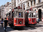 Nostalgic Trams - Two Nostalgic Trams, original streetcars built in the early 20th-century, running between Tunel and Taksim in Istiklal Caddesi, Beyoglu, Istanbul, Turkey
