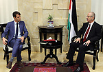 Palestinian Prime minister, Rami Hamadallah, meets with a Representative of Denmark to Palestine Andres Friborg, in the West Bank city of Ramallah,on August 17, 2017. Photo by Prime Minister Office