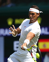 Rafael Nadal (ESP) during his match against Dudi Sela (ISR)<br /> <br /> Photographer Rob Newell/CameraSport<br /> <br /> Wimbledon Lawn Tennis Championships - Day 2 - Tuesday 3rd July 2018 -  All England Lawn Tennis and Croquet Club - Wimbledon - London - England<br /> <br /> World Copyright &not;&uml;&not;&copy; 2017 CameraSport. All rights reserved. 43 Linden Ave. Countesthorpe. Leicester. England. LE8 5PG - Tel: +44 (0) 116 277 4147 - admin@camerasport.com - www.camerasport.com