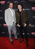 06 January 2018 - Beverly Hills, California - Luca Guadagino, Timothee Chalamet. 2018 BAFTA Tea Party held at The Four Seasons Los Angeles at Beverly Hills in Beverly Hills.    <br /> CAP/ADM/BT<br /> &copy;BT/ADM/Capital Pictures