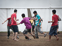 Scouts from Pakistan, Brazil, Sweden, Germany, Hongkong and Slovenia were playing football outside the staff canteen. The game was very intense, but they were all very caring and considerate towards eachother. Photo: Eric Hampusgård/Scouterna