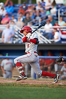 Auburn Doubledays shortstop Andres Martinez (5) hits a single during a game against the Batavia Muckdogs on June 19, 2017 at Dwyer Stadium in Batavia, New York.  Batavia defeated Auburn 8-2 in both teams opening game of the season.  (Mike Janes/Four Seam Images)