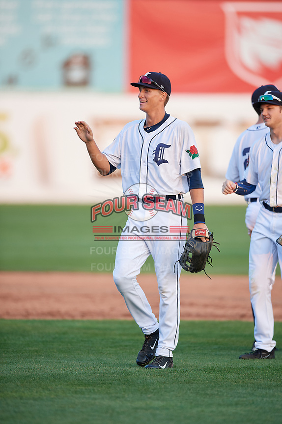 Connecticut Tigers right fielder Ulrich Bojarski (26) celebrates with his teammates after a game against the Lowell Spinners on August 26, 2018 at Dodd Stadium in Norwich, Connecticut.  Connecticut defeated Lowell 11-3.  (Mike Janes/Four Seam Images)