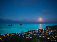 Full moonrise over Lanikai viewed from Pillbox trail on Lanikai Ridge, Windward O'ahu.