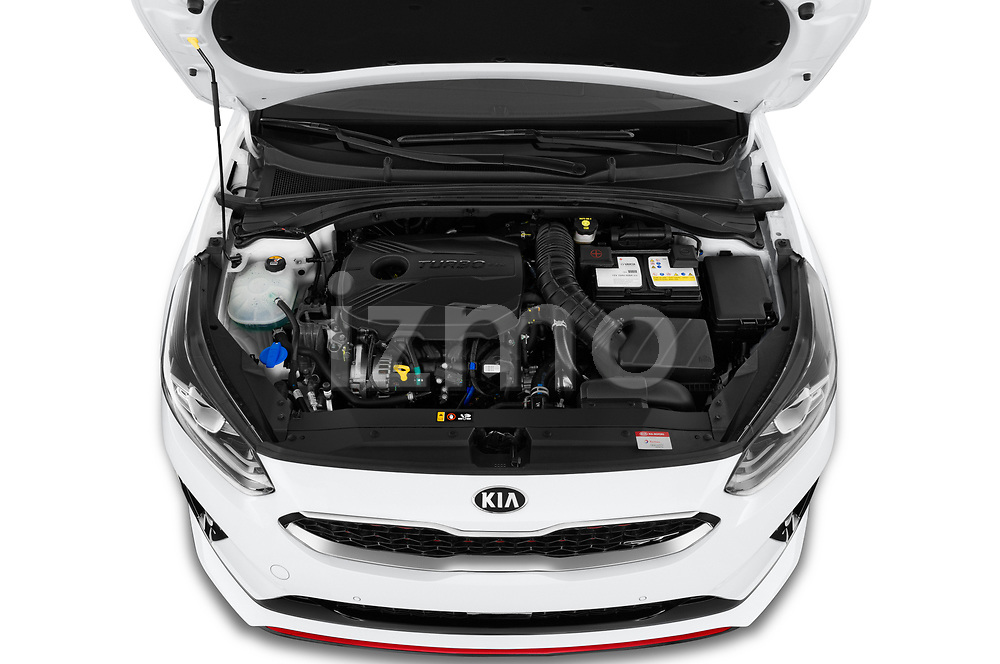 Car Stock 2019 KIA Proceed GT 5 Door Wagon Engine  high angle detail view