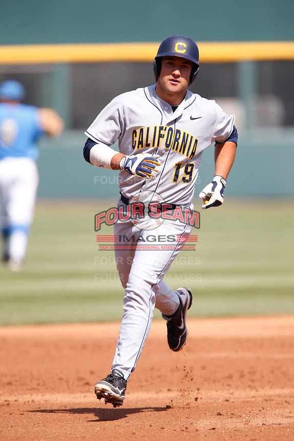 Nick Halamandaris #19 of the California Golden Bears runs the bases after hitting a home run against the UCLA Bruins at Jackie Robinson Stadium on March 23, 2013 in Los Angeles, California. (Larry Goren/Four Seam Images)