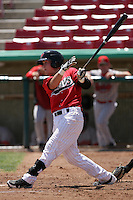 Patrick Brady #2 of the High Desert Mavericks bats against the Visalia Rawhide at Stater Bros. Stadium on May 16, 2012 in Adelanto,California. (Larry Goren/Four Seam Images)