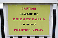 Caution, Beware Of Cricket balls signage during Somerset CCC vs Essex CCC, Specsavers County Championship Division 1 Cricket at The Cooper Associates County Ground on 15th April 2017