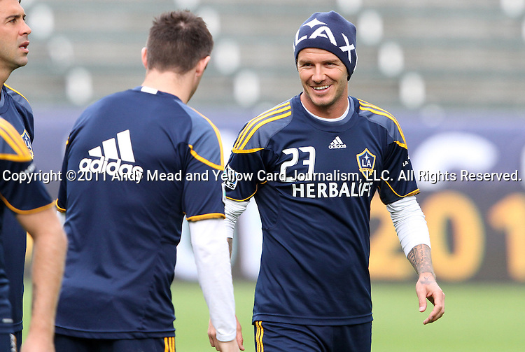 19 November 2011: David Beckham (ENG) (23) and Robbie Keane (IRL) (left). The Los Angeles Galaxy held a practice session at the Home Depot Center in Carson, CA one day before playing in MLS Cup 2011.