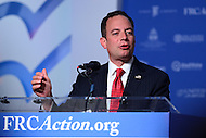 Washington, DC - September 9, 2016: Republican National Committee chairman Reince Priebus speaks to attendees of the Values Voter Summit, held at the Omni Shoreham hotel in the District of Columbia, September 9, 2016.  (Photo by Don Baxter/Media Images International)