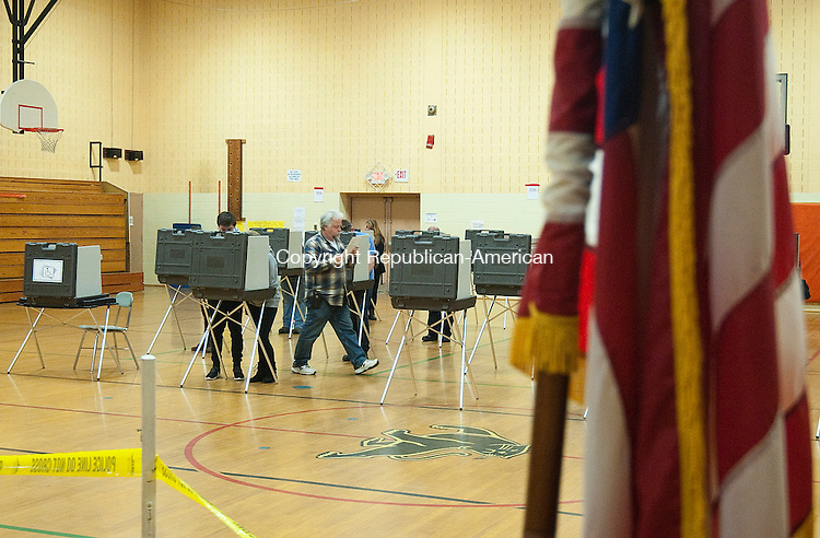 WINSTED,  CT-110816JS03- A steady stream of voters made their way through the gym during election day Tuesday at Pearson Middle School in Winsted <br /> Jim Shannon Republican American