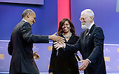 United States President Brack Obama and First Lady Michelle Obama greet David Letterman on stage at the kick off of the 5th anniversary of Joining Forces and the 75th anniversary of the USO at Joint Base Andrews on May 5, 2016 in Maryland. <br /> Credit: Olivier Douliery / Pool via CNP