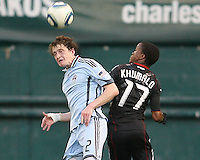 Boyzzz Khumalo #17 of D.C. United loses out on a header to Danny Earls #2 of the Colorado Rapids during an MLS match on May 15 2010, at RFK Stadium in Washington D.C. Colorado won 1-0.