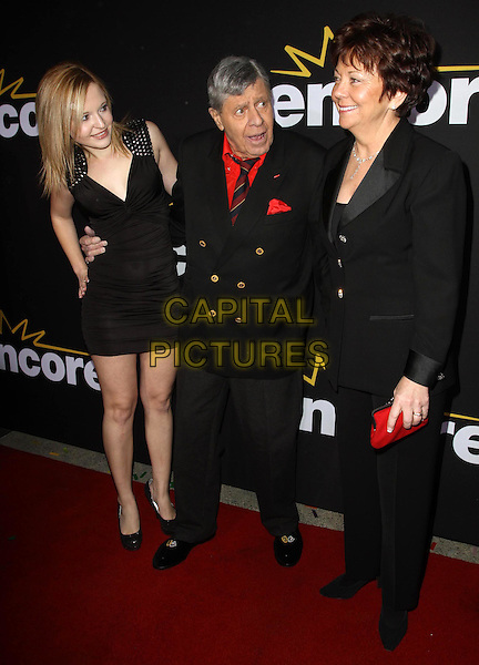 "Danielle Lewis, Jerry Lewis, SanDee Pitnick Lewis.Premiere Of Encore's ""Method To The Madness Of Jerry Lewis"" Held At The Paramount Studios lot, Los Angeles, California, USA..December 7th, 2011.full length black suit dress red shirt daughter father dad married husband wife mother mom mum family  .CAP/ADM/KB.©Kevan Brooks/AdMedia/Capital Pictures."