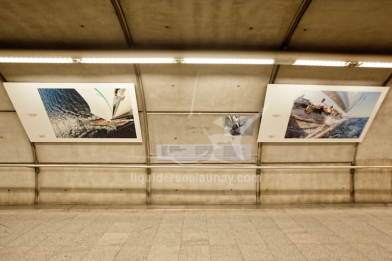 Bilbao during the Sail In Festival, Christophe Launay exhibition inside the Bilbao Metro.<br /> Bilbao is a municipality and city in Spain in the province of Biscay in the autonomous community of the Basque Country.