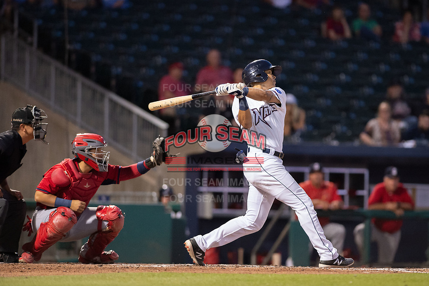 Northwest Arkansas Naturals outfielder Blake Perkins (44) connects on a pitch on May 16, 2019, at Arvest Ballpark in Springdale, Arkansas. (Jason Ivester/Four Seam Images)