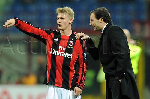 12 02 2011  Merkel and Massimiliano Allegri Milan  Stadio Meazza AC Milan versus Parma  Campionato Italiano Series A