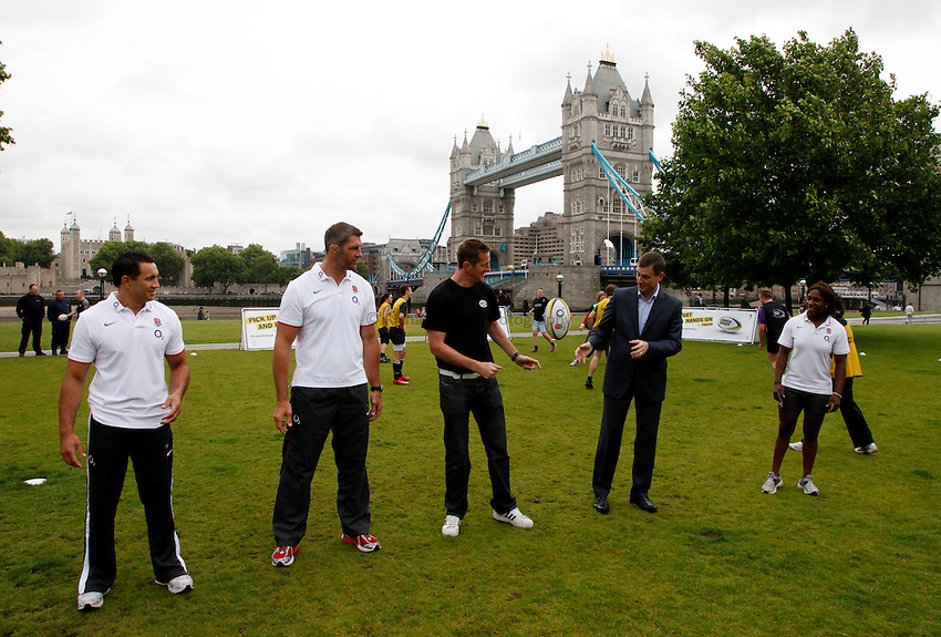Photo: Richard Lane/Richard Lane Photography. O2 Touch Launch, an RFU initiative aiming to get England playing touch rugby at Potters Field, London. 17/06/2011. (lt to rt) England's Riki Flutey and Simon Shaw, England World Cup Winner, Will Greenwood, Ronan Dunne, UK Chief Executive Officer at O2 and England's Maggie Alphonsi.