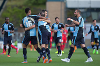 Celebrations from the Wycombe teammates after a Stephane Zubar of York City Own Goal makes it 3-0 during the Sky Bet League 2 match between Wycombe Wanderers and York City at Adams Park, High Wycombe, England on 8 August 2015. Photo by Andy Rowland.