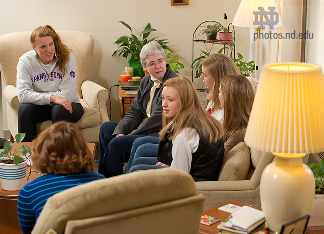 Apr. 3, 2013; Sr. Mary Donnelly, rector of Pangborn Hall, meets with residents in her apartment in the dorm...Photo by Matt Cashore/University of Notre Dame