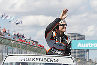 March 20, 2016: Nico Hulkenberg (DEU) #27 from the Sahara Force India F1 team at the drivers' parade prior to the 2016 Australian Formula One Grand Prix at Albert Park, Melbourne, Australia. Photo Sydney Low