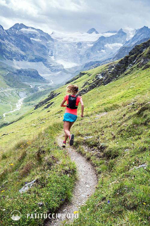Trail running near Lac de Moiry, Switzerland