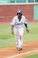 Darnell Sweeney (9) of the Chattanooga Lookouts takes his lead off of third base against the Montgomery Biscuits at AT&T Field on July 23, 2014 in Chattanooga, Tennessee.  The Lookouts defeated the Biscuits 6-5. (Brian Westerholt/Four Seam Images)