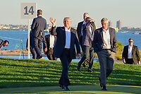 President Trump steps on the 14th green for the trophy presentaion following round 4 Singles of the 2017 President's Cup, Liberty National Golf Club, Jersey City, New Jersey, USA. 10/1/2017. <br /> Picture: Golffile | Ken Murray<br /> <br /> All photo usage must carry mandatory copyright credit (&copy; Golffile | Ken Murray)