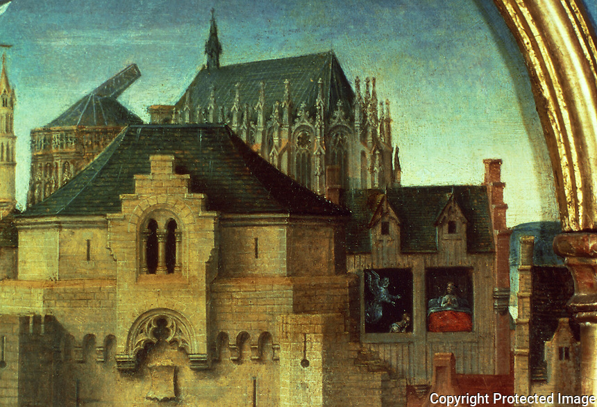 Paintings:  Hans Memling--Ursula shrine--Debarcation at Cologne, detail.  Reference only.