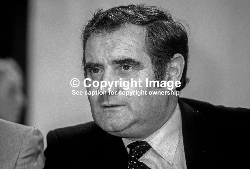 Gene Fitzgerald, TD, Minister for Justice, Rep of Ireland, on platform at Fianna Fail Ard Fheis. 198102000030GF5.<br />