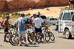 Mountain bikers at staging area in Moab