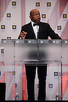 Washington, DC - September 10, 2016: Civil rights icon and U.S. Representative John Lewis speaks at the Human Rights Campaign National Dinner at the Washington Convention Center in the District of Columbia, September 10, 2016.  (Photo by Don Baxter/Media Images International)
