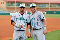 Daytona Tortugas Carlos Rivero (3) and Luis Gonzalez (7) before a game against the Florida Fire Frogs on April 7, 2018 at Osceola County Stadium in Kissimmee, Florida.  Daytona defeated Florida 4-3 in a six inning rain shortened game.  (Mike Janes/Four Seam Images)