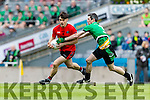 Gavan O'Grady Glenbeigh Glencar in action against Niall Mullan Rock Saint Patricks in the Junior Football All Ireland Final in Croke Park on Sunday.