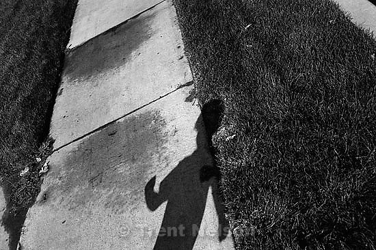 Nathaniel Nelson's shadow, running.<br />