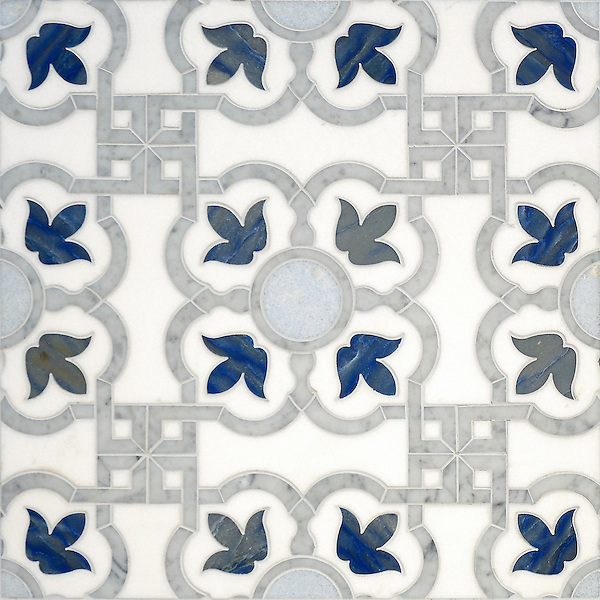 Jaen, a stone waterjet mosaic shown in Thassos honed, Carrara polished, Celeste polished, and Blue Macauba polished, is part of the Miraflores collection by Paul Schatz for New Ravenna.