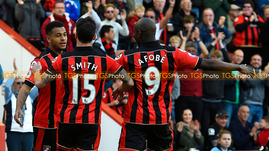 Joshua King of AFC Bournemouth left celebrates his goal with Adam Smith and Benik Afobe of AFC Bournemouth during AFC Bournemouth vs Middlesbrough, Premier League Football at the Vitality Stadium on 22nd April 2017